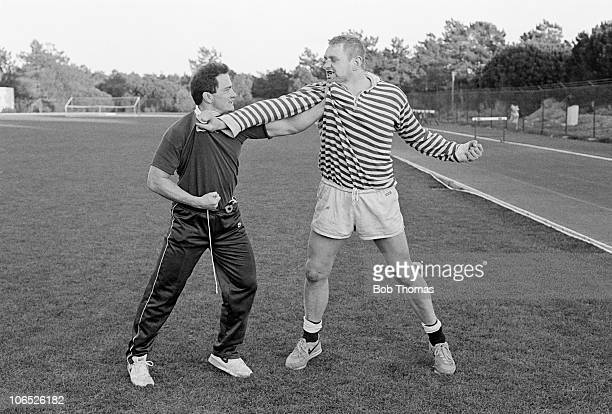 England Rugby Union's two Midlands players Brian Moore and Dean Richards have a friendly 'discussion' during a training session on 7th January 1989