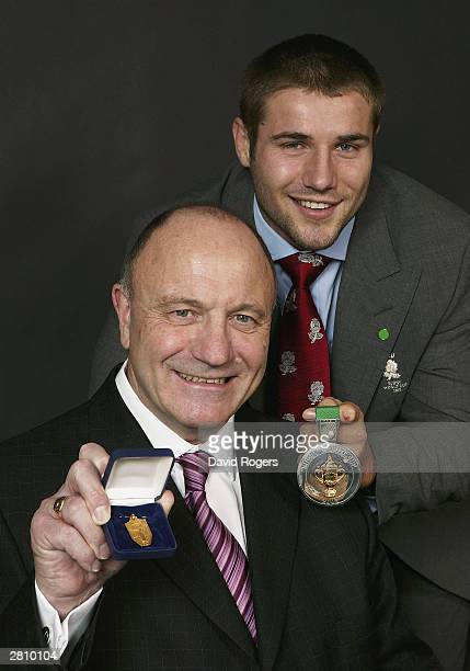 England Rugby World Cup winner Ben Cohen and his uncle George Cohen a World Cup winner with the England Football Team in 1966 show off their...