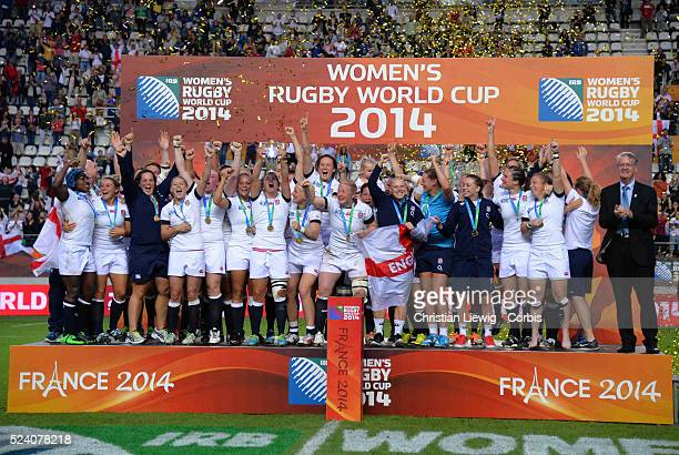 England 's Team trophy during the IRB Women's Rugby World Cup match between England and Canada at the Jean Bouin Stadium on August 17 2014 in Paris...
