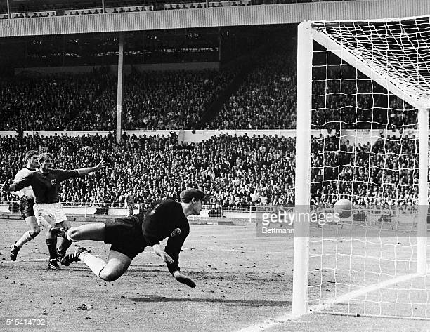 England scores against Germany in the World Cup Finals at Wembley Stadium The English team won the championship