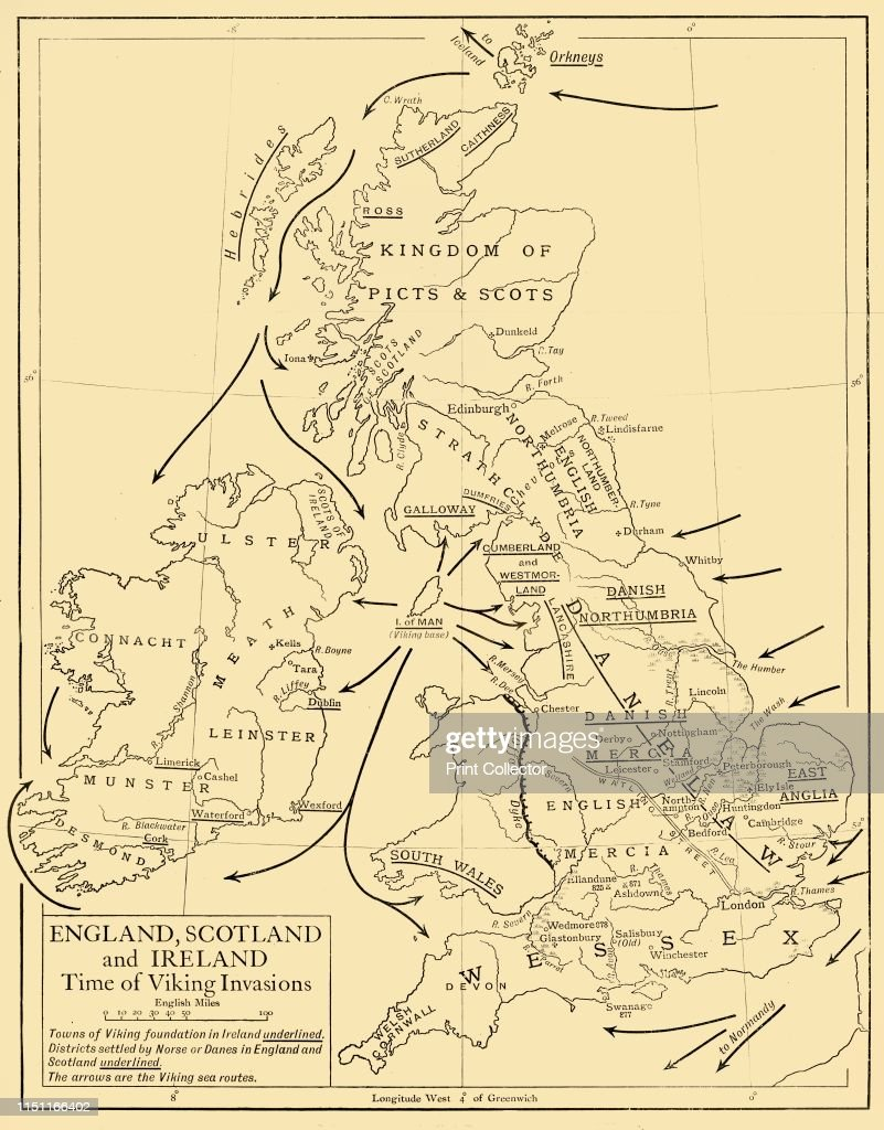 Map Of England Scotland And Ireland.England Scotland And Ireland Time Of Viking Invasions 1926 Map