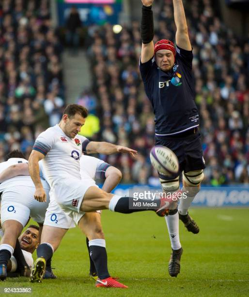 England scrum half Danny Care clears upfield during the 6 Nations clash between Scotland and England at BT Murrayfield on February 24 2018 in...
