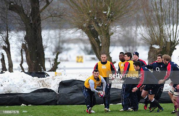 England scrum half Danny Care passes the ball during England training at West Park Rugby club on January 24, 2013 in Leeds, England.