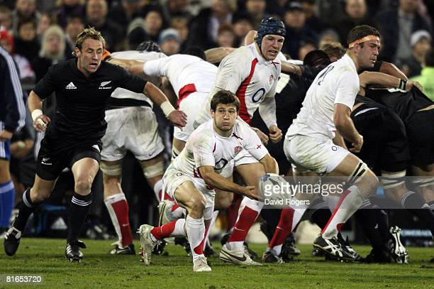 England scrumhalf Danny Care passes the ball during the second Iveco Series test match between the New Zealand All Blacks and England at AMI Stadium...