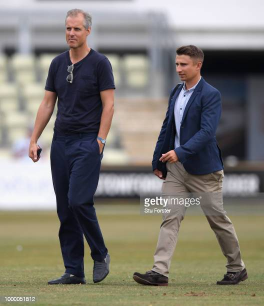 England selectors Ed Smith and James Taylor pictured during day one of the four day international match between England Lions and India A at New Road...