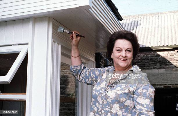 England September 1979 Actress Betty Driver who plays the role of Betty Turpin in the television series Coronation Street is pictured painting her...