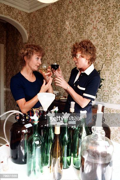 England September 1979 Actresses Thelma Barlow who plays the role of Mavis Riley and Madge Hindle who plays Rene Roberts in the television series...