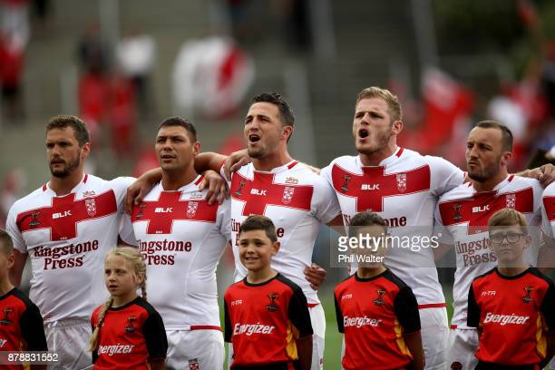 England sing the national anthem during the 2017 Rugby League World Cup Semi Final match between Tonga and England at Mt Smart Stadium on November 25...