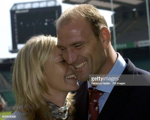 England skipper Lawrence Dallaglio with his partner Alice Corbett after announcing his reirement from international rugby with immediate effect at...