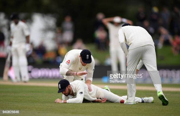 England slip Ben Stokes reacts after James Vince had dropped Tom Latham during day four of the Second Test Match between the New Zealand Black Caps...