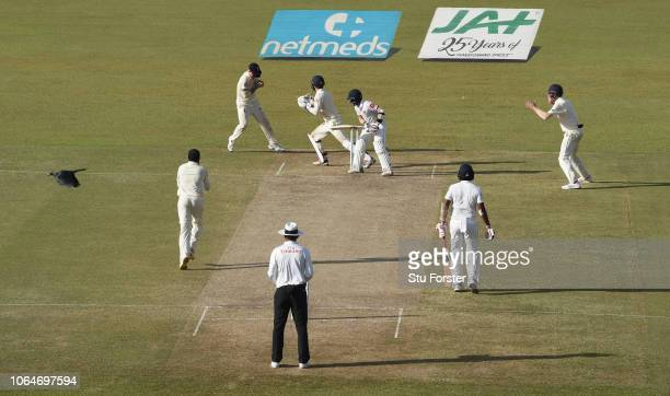 England slip fielder Ben Stokes takes the catch to dismiss Sri Lanka batsman Kusal Mendis off the bowling of Adil Rashid during Day Two of the Third...