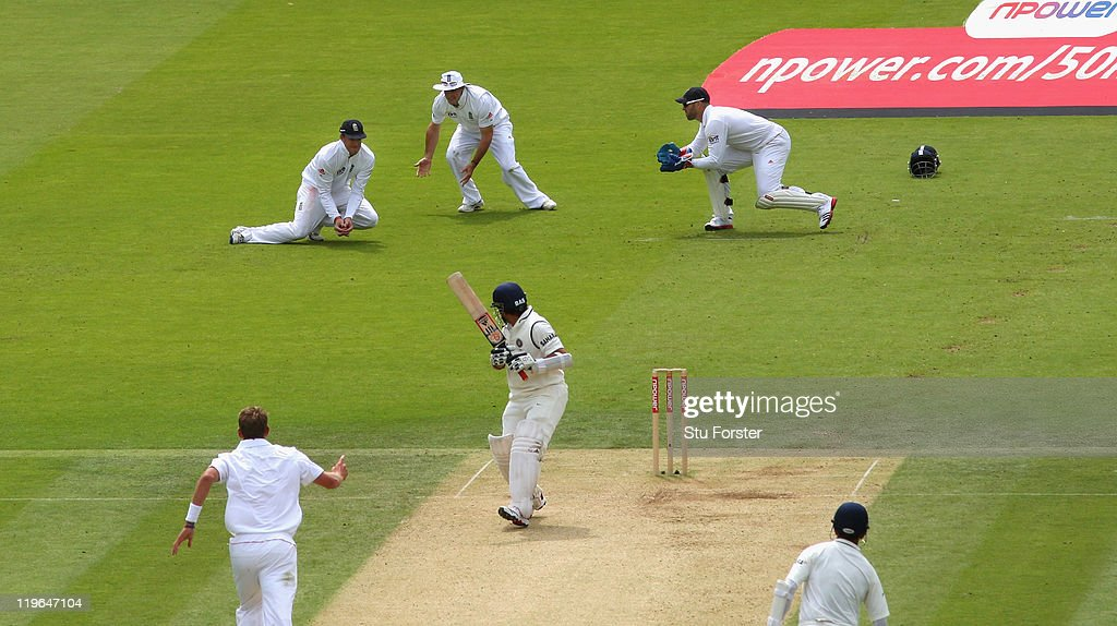 England slip fielder Graeme Swann catches India batsman Sachin Tendulkar during day three of the 1st npower test match between England and India at Lords on July 23, 2011 in London, England.