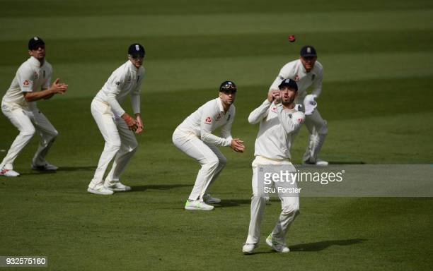 England slip fielder James Vince drops a catch during day one of the Test warm up match between England and New Zealand Cricket XI at Seddon Park on...