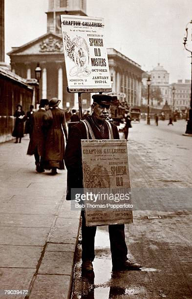 England Social History Sandwich board man on a central London street circa 1914