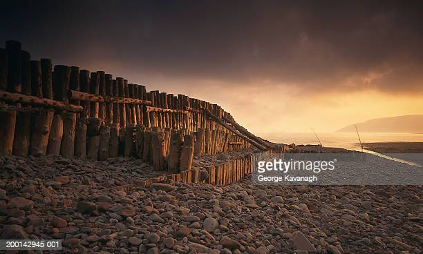 england, somerset, porlock weir, pebble beach in morning light - ポーロック ストックフォトと画像