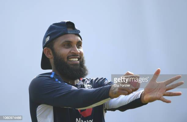 England spin bowler Adil Rashid reacts happily during England nets ahead of the 2nd Test Match at Pallekelle Stadium on November 13 2018 in Kandy Sri...