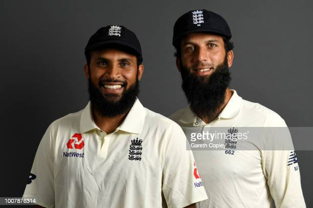 England spin bowlers Adil Rashid and Moeen Ali pose for a portrait at Edgbaston Cricket Ground on July 30 2018 in Birmingham England
