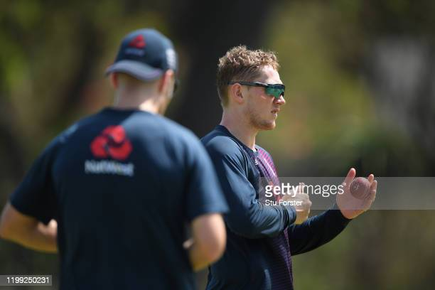 England spin bowlers Jack leach and Dom Bess prepare to bowl during England nets at St George's Park on January 13, 2020 in Port Elizabeth, South...