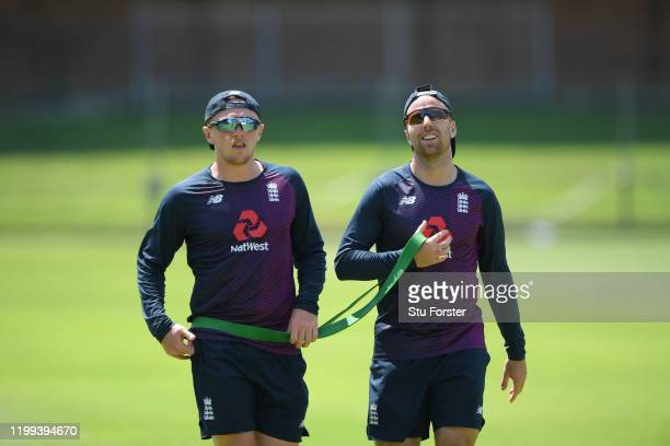 England spin bowlers Jack leach and Dom Bess take a breather during the warm up during England nets at St George's Park on January 13, 2020 in Port...