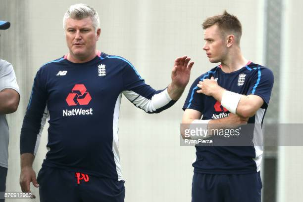 England Spin Consultant and former Australian Test Spinner Stuart MacGill speaks with Mason Crane of England during an England nets session at The...