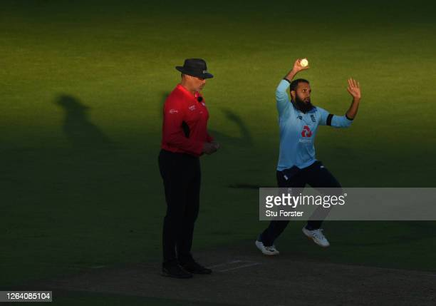 England spinner Adil Rashid in bowling action during the Third One Day International between England and Ireland in the Royal London Series at The...