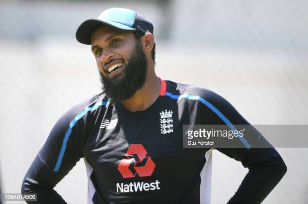 England spinner Adil Rashid raises a smile during England Nets ahead of the 3rd Test Match at the SSC cricket ground on November 21 2018 in Colombo...