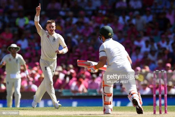 England spinner Mason Crane appeals for a decision against Australia's Mitchell Marsh on the third day of the fifth Ashes cricket Test match at the...