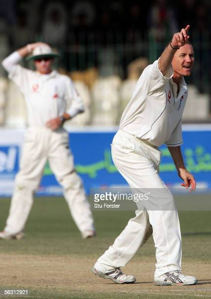 England spinner Shaun Udal makes an appeal as fielder Ian Bell looks on during the struggle for wickets during the Third Day of the Third and Final...