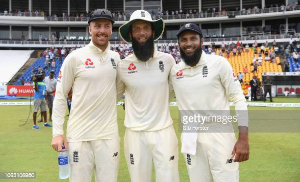 England spinners Jack Leach Moeen Ali and Adil Rashid celebrate victory after Day Five of the Second Test match between Sri Lanka and England at...