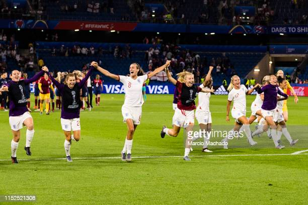 England Squad celebrates after winning Norway during the 2019 FIFA Women's World Cup France Quarter Final match between Norway and England at on June...