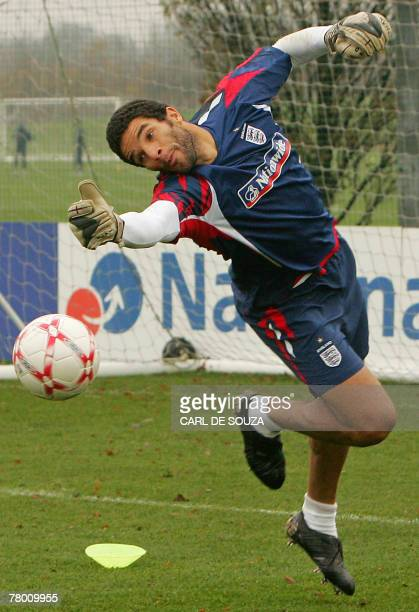 England squad goalkeeper David James attends a team training session at London Colney, in north London, 20 November 2007. England challenge Croatia...