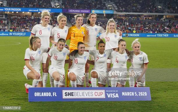 England starting XI pose for a picture prior to the Women's SheBelieves Cup match between the USA and England on March 05 2020 at Exploria Stadium in...