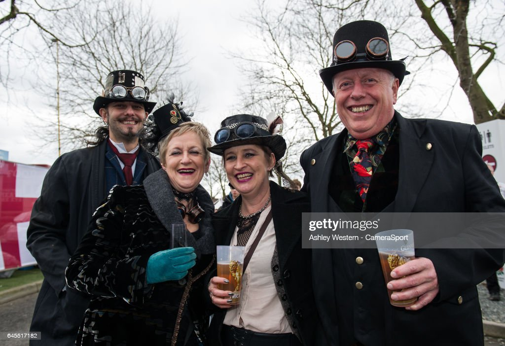 England 'steampunk' fans enjoying the pre match atmosphere before the RBS Six Nations Championship match between England and Italy at Twickenham Stadium on February 26, 2017 in London, England.