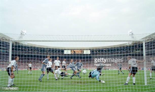 England striker Alan Shearer heads in the England goal past goalkeeper Andreas Kopke during the 1996 UEFA European Championships semi final at...