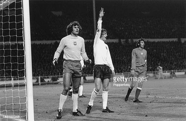 England striker Allan Clarke appeals for a corner during a World Cup qualifying match against Poland at Wembley, London, 17th October 1973. On the...
