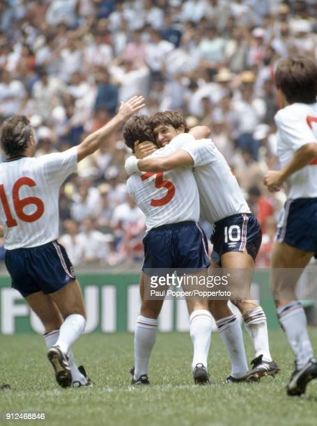 England striker Gary Lineker hugging Kenny Sansom after scoring England's first goal during the FIFA World Cup round of 16 match between England and...