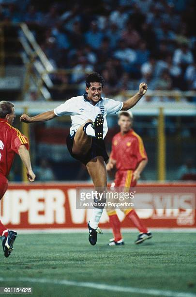 England striker Gary Lineker pictured in action during the 1990 FIFA World Cup last 16 knockout round game between Belgium and England at the Stadio...