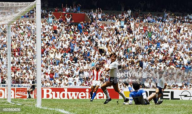 England striker Gary Lineker turns away to celebrate after scoring the first goal against Paraguay during round 16 match of the FIFA World Cup...