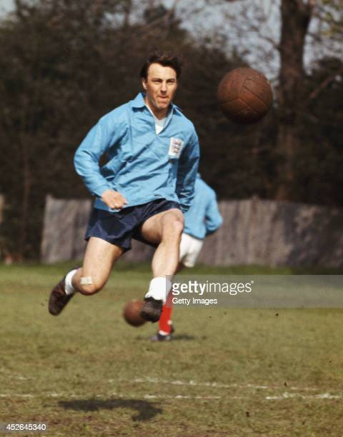 England striker Jimmy Greaves in action during an England training session circa 1966.