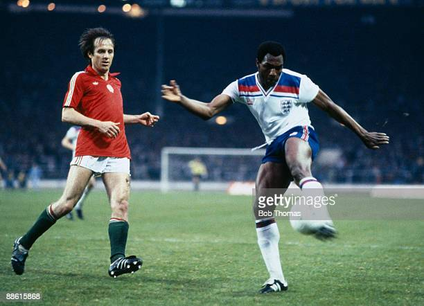 England striker Luther Blissett shoots watched by Hungarian defender Gyozo Martos during the European Championship Qualifying match at Wembley...