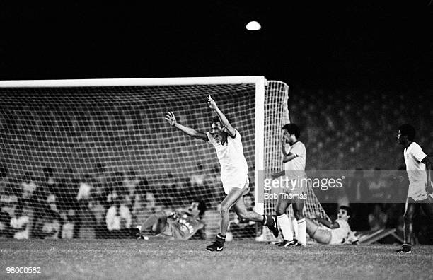 England striker Mark Hateley celebrates after scoring England's second goal against Brazil during the England Tour of South America in a match held...