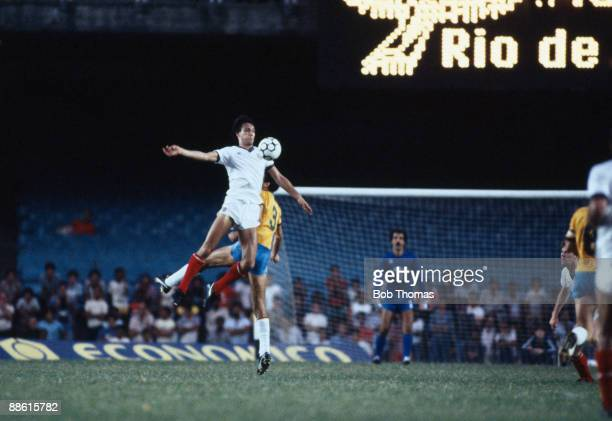 England striker Mark Hateley jumps higher than Brazilian defender Ricardo during the International friendly between Brazil and England at the...