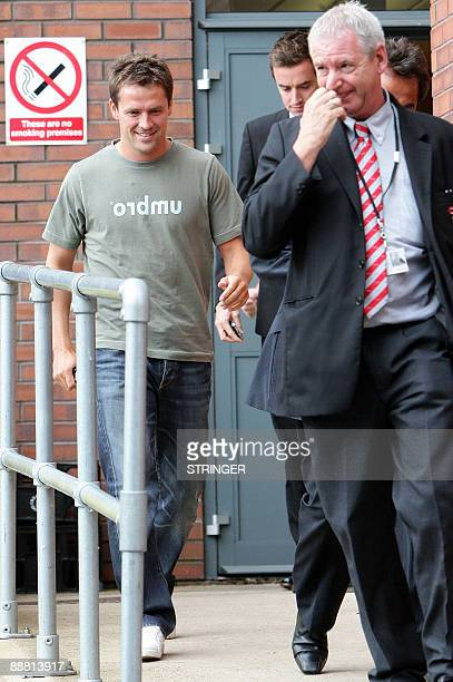 England striker Michael Owen is pictured after a medical at Bridgewater Hospital in Manchester northwest England on July 3 2009 Premier League...