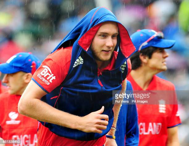 England Stuart Broad goes back to pavilion as rain stops play during the ICC Champions Trophy Final at Edgbaston Birmingham