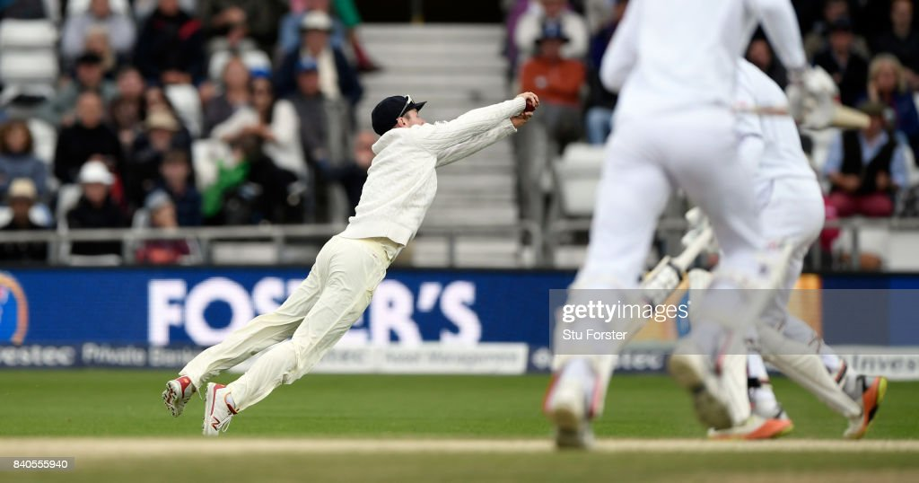 England sub fielder Mason Crane dives to catch Roston Chase during day five of the 2nd Investec Test Match between England and West Indies at Headingley on August 29, 2017 in Leeds, England.