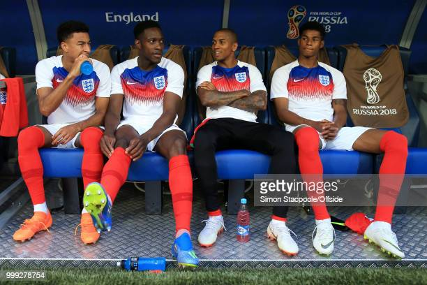 England substitutes Jesse Lingard Danny Welbeck Ashley Young and Marcus Rashford look on from the dugout during the 2018 FIFA World Cup Russia 3rd...