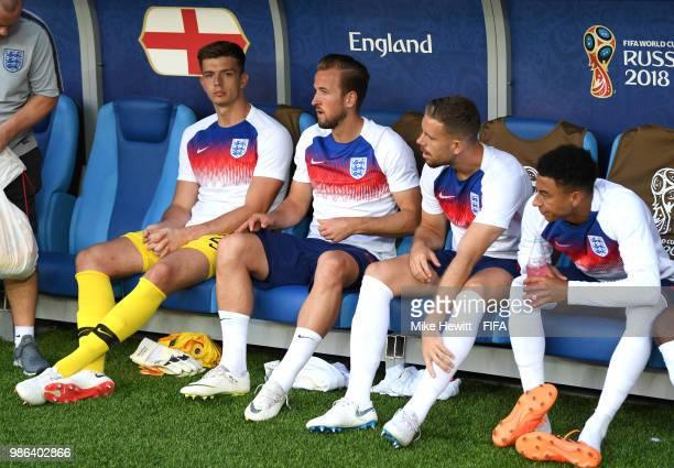 England substitutes Nick Pope Harry Kane Jordan Henderson and Jesse Lingard look on prior to the 2018 FIFA World Cup Russia group G match between...