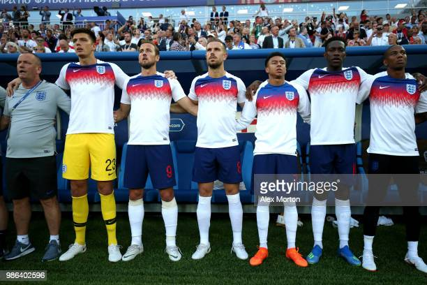 England substitutes Nick Pope Harry Kane Jordan Henderson Jesse Lingard Danny Welbeck and Ashley Young look on prior to the 2018 FIFA World Cup...