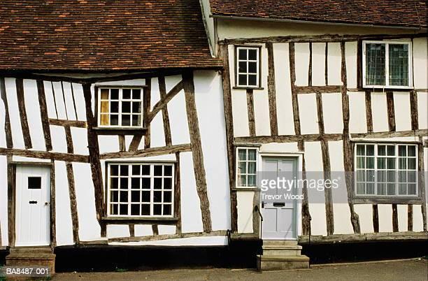 england, suffolk, lavenham, timber- framed tudor cottages, circa 1490 - lavenham stock photos and pictures