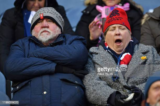 England supporters await kick off in the Six Nations international rugby union match between Scotland and England at Murrayfield Stadium in Edinburgh...